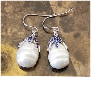 Genuine Encrusted Blue Sapphires Pearl Earrings